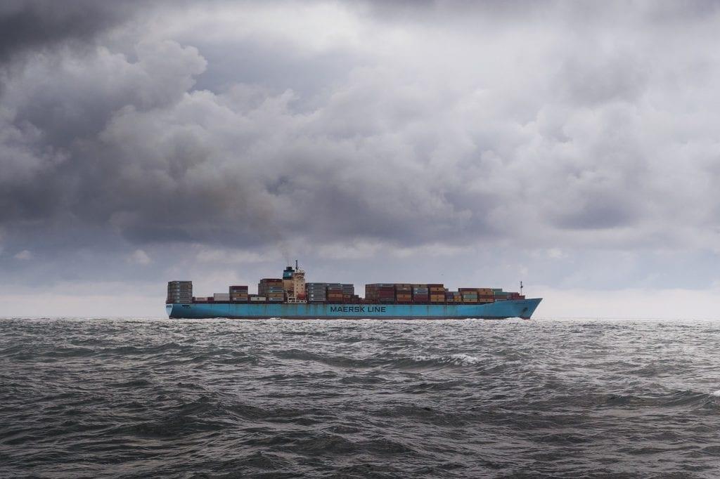 container, ship, sky